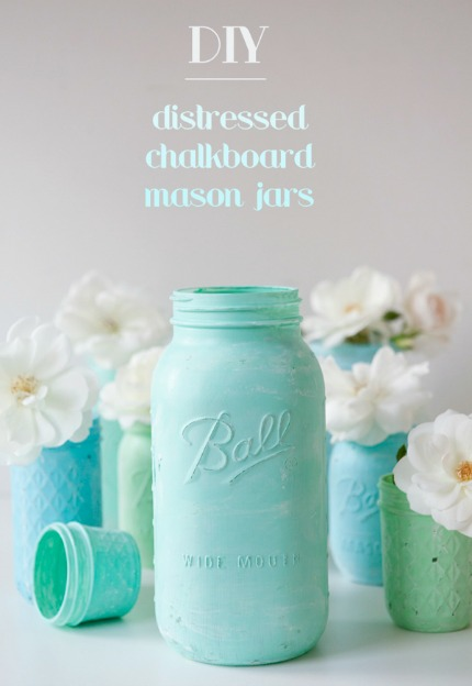 Distressed Chalkboard Mason Jars via Something Turquoise with photo by Studio 11