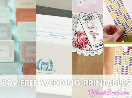 80+ Free Wedding Printables via Offbeat Bride