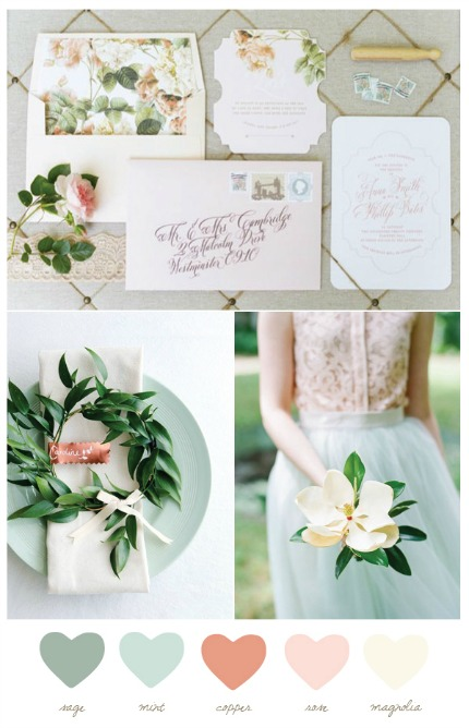 Mint and Magnolia Wedding Inspiration via The Sweetest Occasion