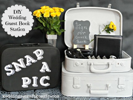 FolkArt® Home Decor™ Chalk DIY Wedding Guest Book Station via weddings.craftgossip.com
