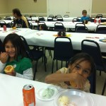 Children enjoy the meal!