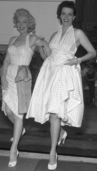 Marilyn Monroe & Jane Russell both in white halterneck dresses