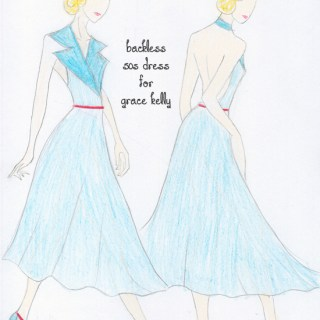 Fashion sketch: dress design for Grace Kelly