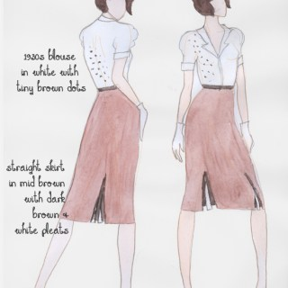 Vintage fashion design: 1930s day dress