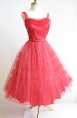 Vintage red party dress with silver sparkle by Vias Vintage