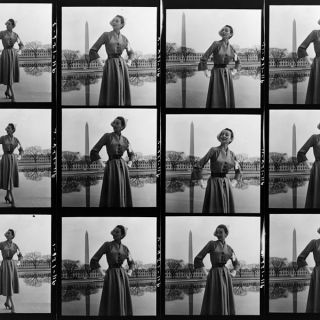 Contact sheet from a 1940s fashion shoot