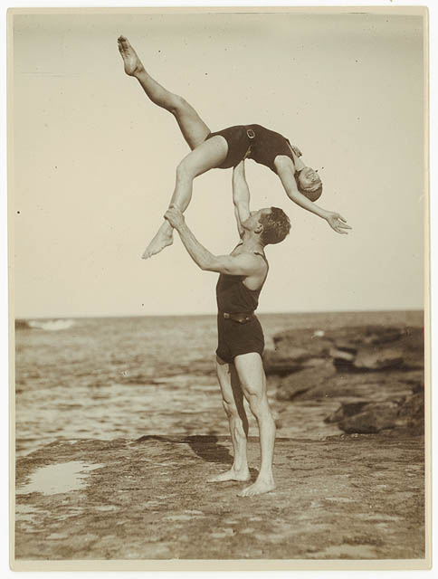 1930s acrobats on the beach