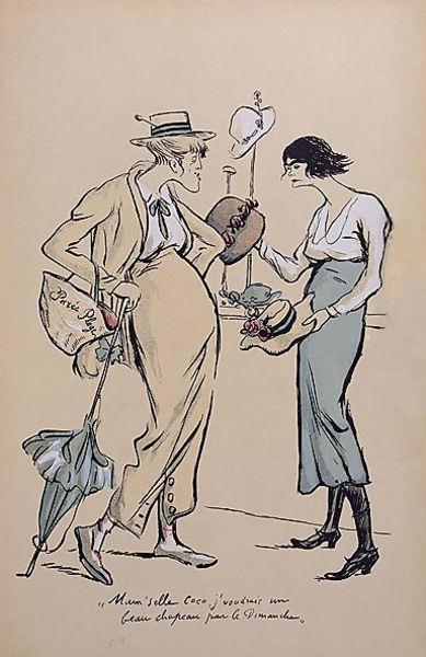 caricature of Coco Chanel