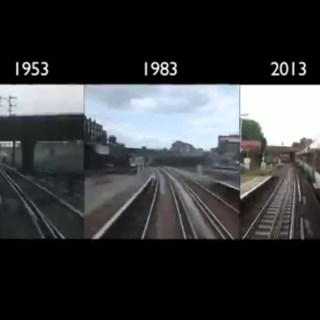 Time-lapse train journey: London to Brighton in 1953, 1983 and 2013 side by side
