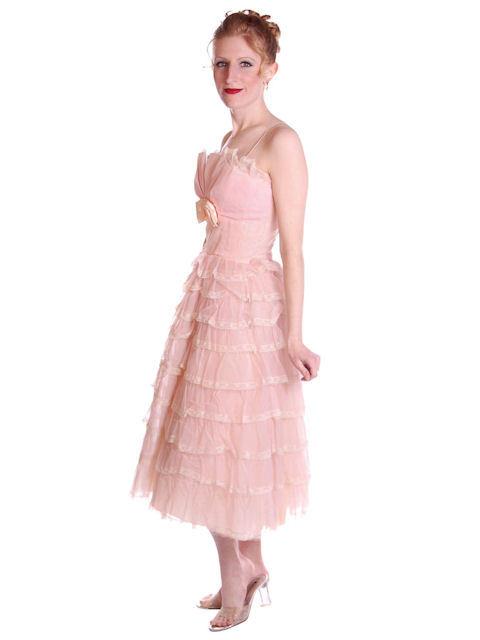 Vintage Pink Party Dress Chiffon Ruffles Skirt 1950s