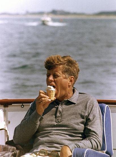 President Kennedy eating an ice cream, August 1963