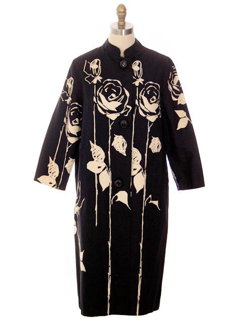 Vintage Spring Coat Black/ Off White Roses Graphic 1970s