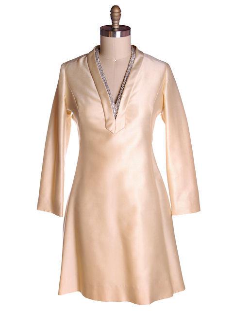 Vintage Ivory Silk Cocktail Dress Provenance Elinor Simmons Malcolm Starr 1970s