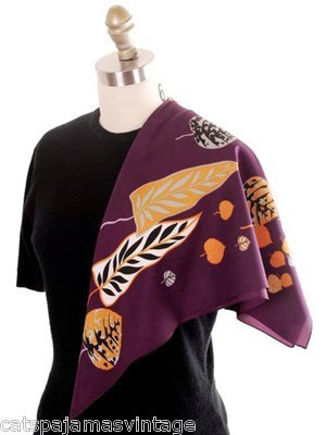 Vintage Acetate Scarf Fab Abstract Leaf Pattern Eggplant & Gold, Silver 1950s