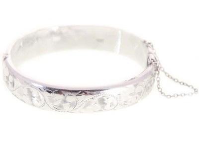 Vintage Victorian Sterling Silver Bracelet Etched Top