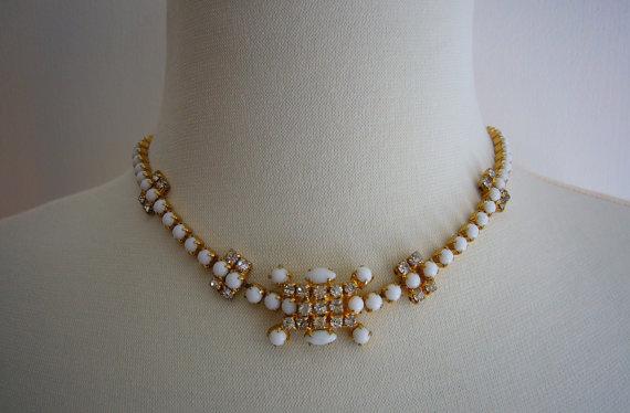 Rhinestone Milk Glass Gold Necklace