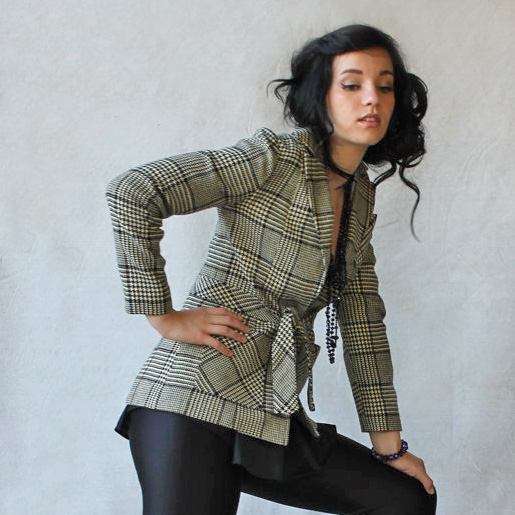 1960-70's Classic Cream & Black Hounds-Tooth Plaid Dress Jacket by Modern Juniors