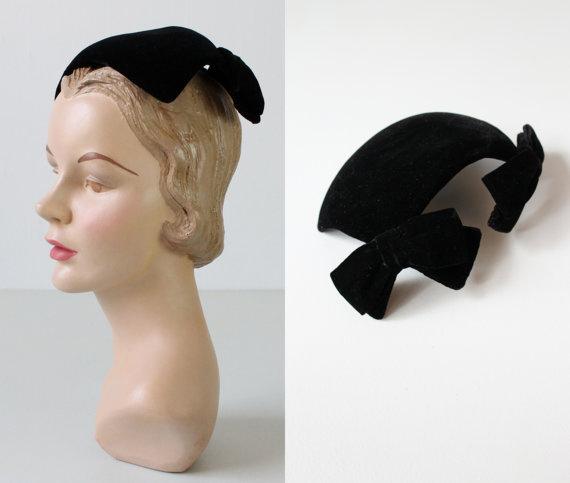 Black Velvet hat with Bow