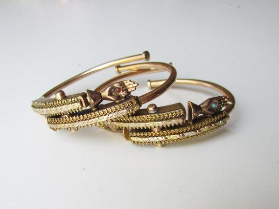 Rare Antique Victorian Wedding Bracelets Pair