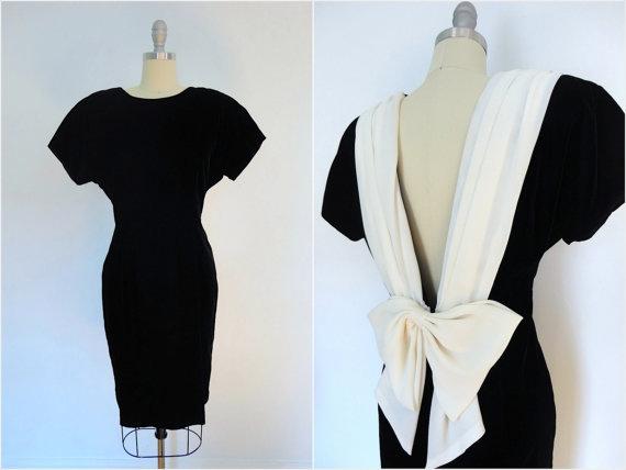 Vintage Party Dress / 1980s Velvet Formal Cocktail Dress