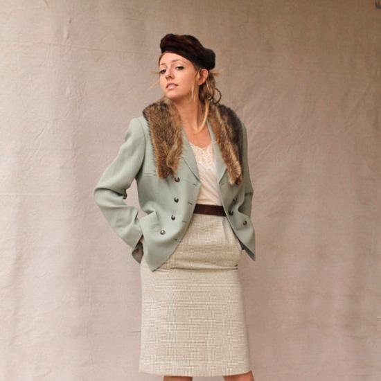 Vintage Celedon Green Double Breasted Wool Jacket by KASPER A.S.L.