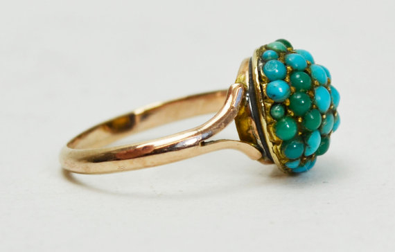 Victorian 14ct Rose Gold TURQUOISE Encrusted DOME RING