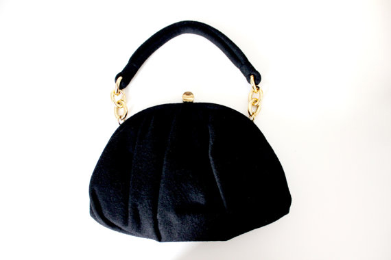 Vintage 1950s Ingber Handbag Purse Black Wool and Gold Tone Chain