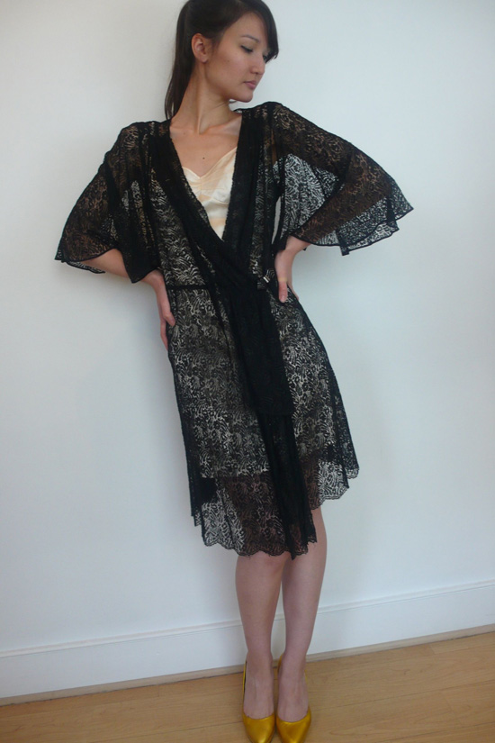 1920s Black Lace Dress with Caped Arms
