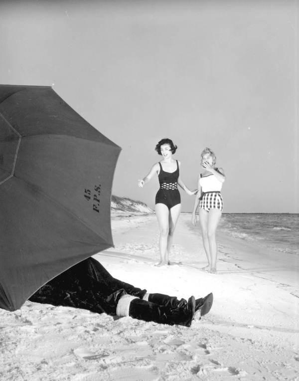 1960s Santa on a beach