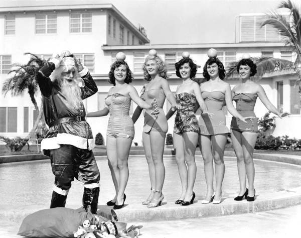 Vintage Santa and his Lovely Ladies...