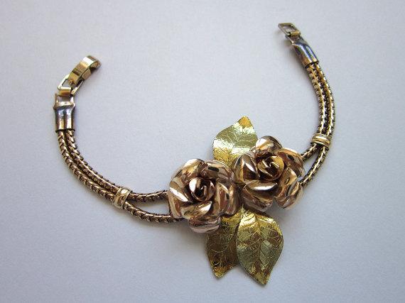 Vintage 1950s Bracelet / Rose Gold and Gold Tone Signed Krementz Bracelet
