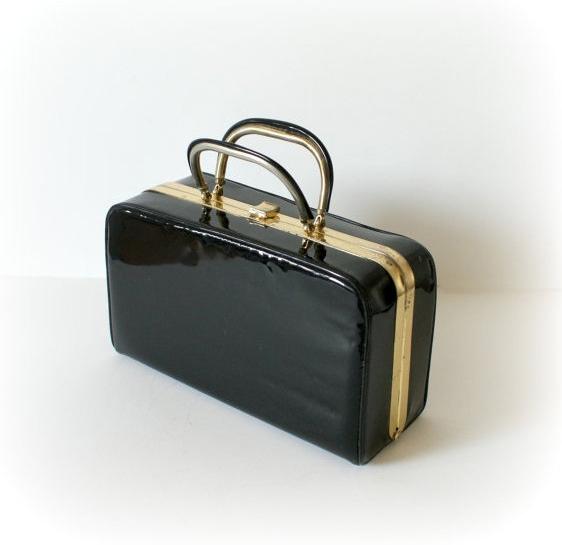950s Vintage Handbag - Black Patent Box Purse