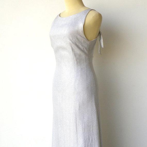 Vintage 1960s Liquid Silver Evening Dress
