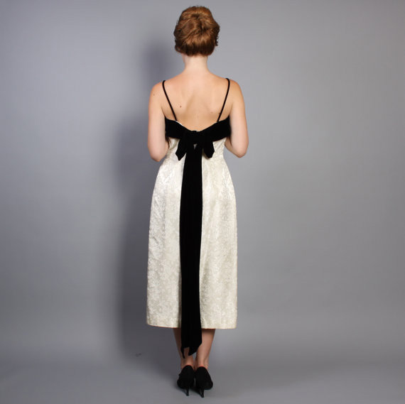 1960s Party Dress White Brocade & Black Velvet Trailing Bow