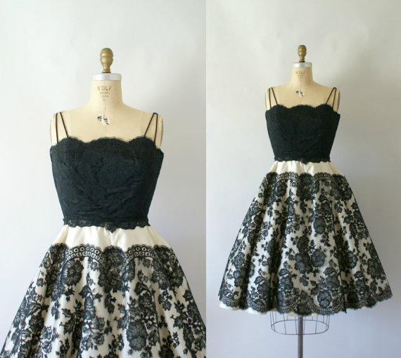 50s Silk Satin Couture Lace Dress