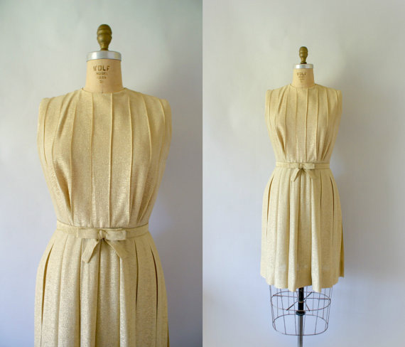 60s MOD Gold Lame Pleated Party Dress