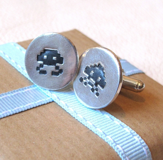 Retro Space Invader Cufflinks