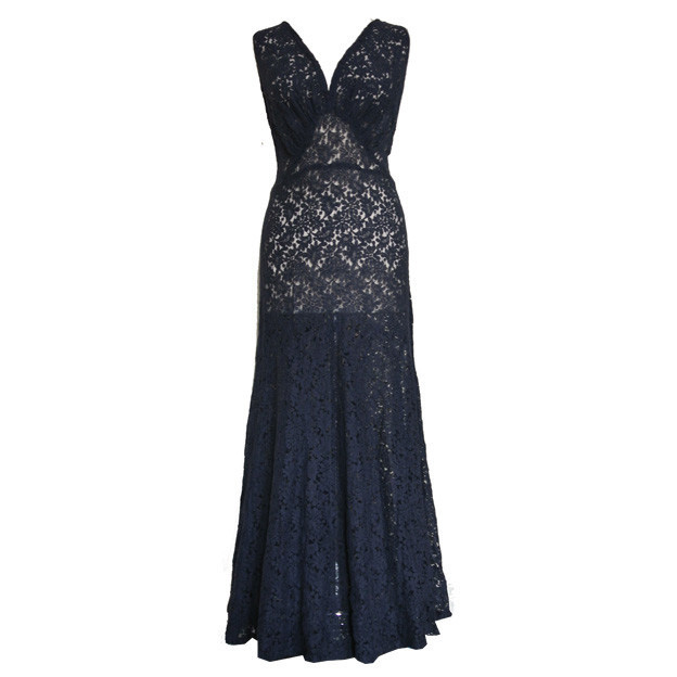 Deco navy blue floral lace 1930s gored evening dress