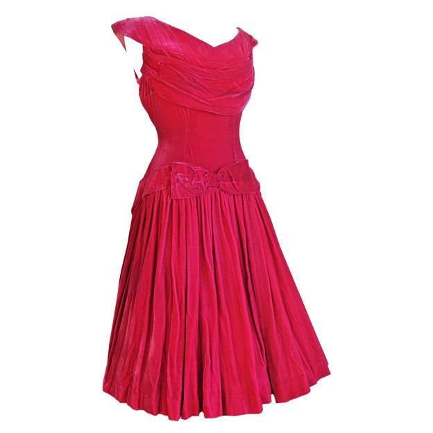 Cerise pink silk velvet 1940s bow sash evening dress