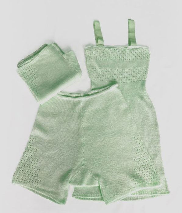 Green C.1940s Panties & Camisole Knit Lingerie Set