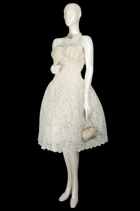 1950s Marie Antoinette Guipure Wedding Dress
