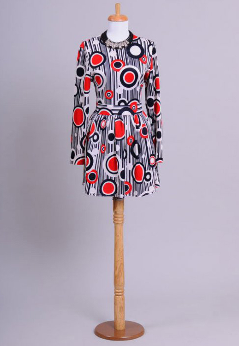 1970 Art Deco Vintage Mini Dress