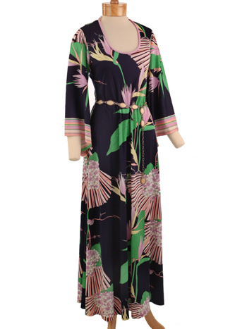 70s Jeannene Booher Floral Print Angel Sleeve Maxi Dress