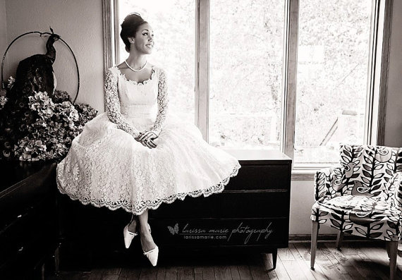 1950s Vintage Ivory Lace Wedding Dress
