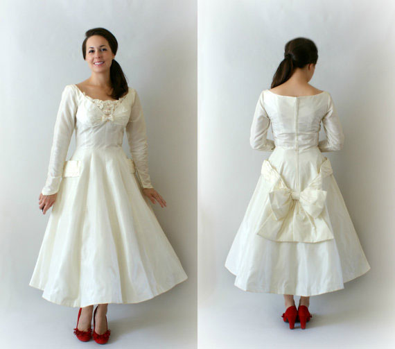 1950s Vintage Taffeta Wedding Dress