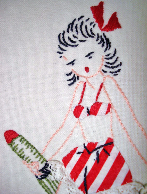 Vintage 1940s Pin Up Girl Guest Towel