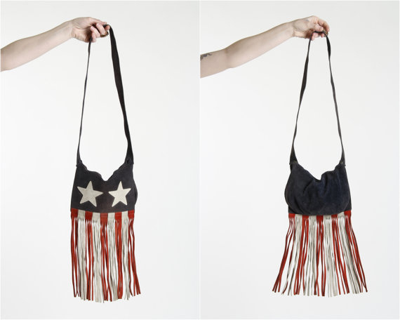 1970s Suede Purse Stars & Stripes Fringe Flag Motif