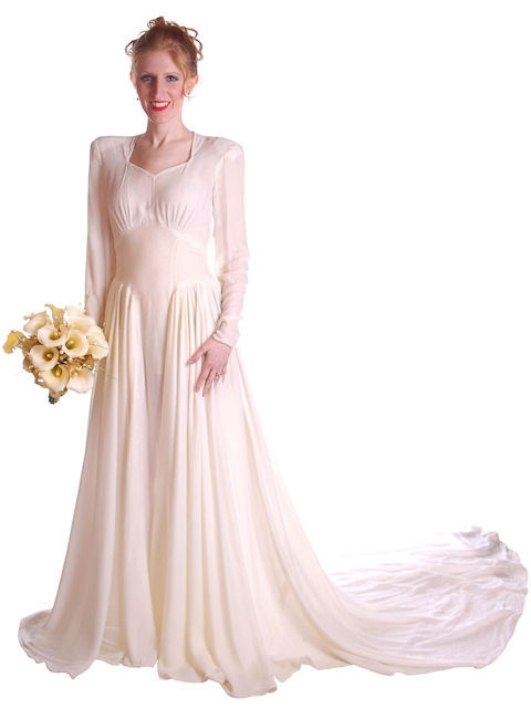 Vintage 1940s Winter White Silk Velvet Wedding Gown