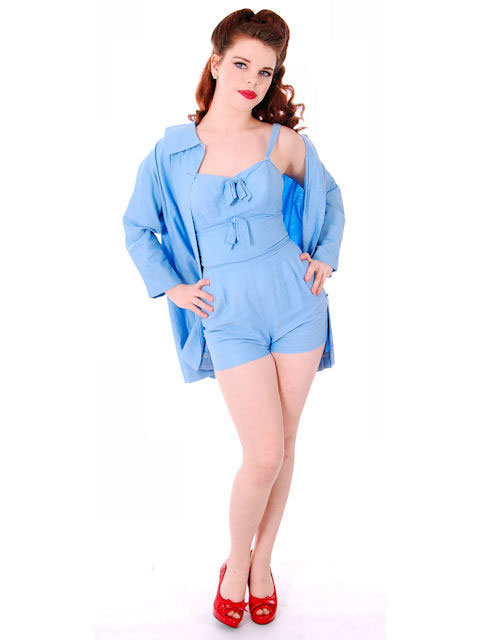 Vintage Pin-Up 1PC Bathing Suit & Coverup Baby Blue Cotton De Pinna 1940s
