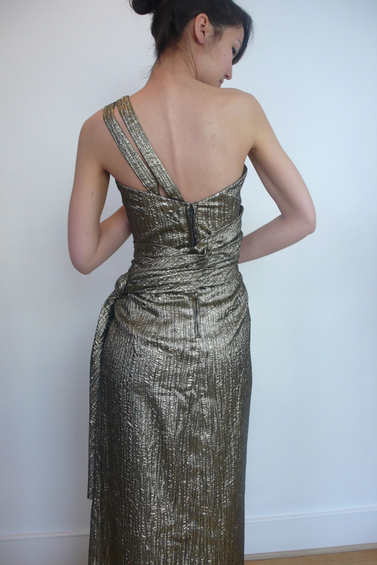 1960s Gold Brocade Evening Dress